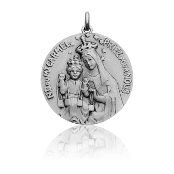 ed6ecbf77 Medalla Virgen y Sagrado corazón Oro Blanco - Ocarat
