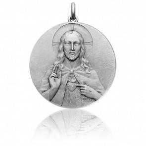 Medalla escapulario Cristo y Virgen