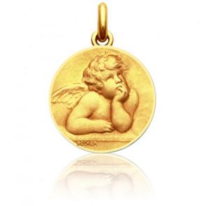 Medalla Ángel Rafael Oro Amarillo y Contorno pulido