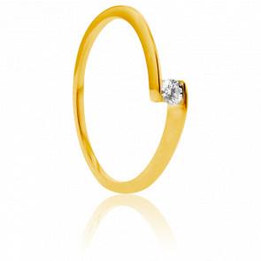 Anillo compromiso Solitario Oro Amarillo diamante con peso 0,08ct