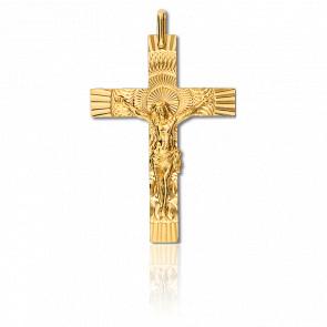 Cruz con Cristo rayos,Oro amarillo 22x33mm