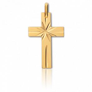 Cruz con Estrella Oro amarillo 15x24mm