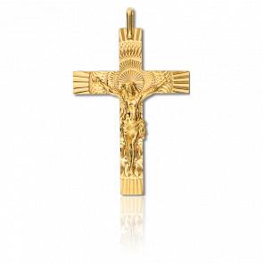 Cruz con Cristo rayos de luz,Oro amarillo