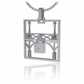 Collar Lock & Love Cuadrado Puente de los Enamorados Oro Blanco Candado Blanco