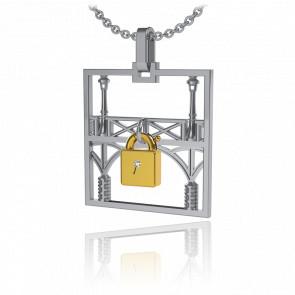 Collar Lock & Love Cuadrado Puente de los Enamorados Oro Blanco Candado Amarillo
