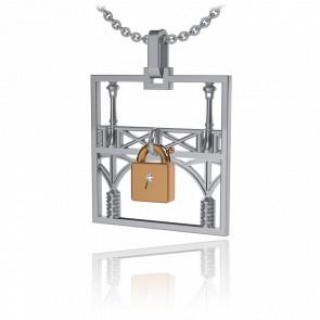 Collar Lock & Love Cuadrado Puente de los Enamorados Oro Blanco Candado Rosa