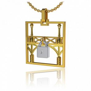 Collar Lock & Love Cuadrado Puente de los Enamorados Oro Amarillo Candado Blanco