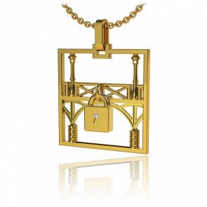 Collar Lock & Love Cuadrado Puente de los Enamorados Oro Amarillo Candado Amarillo