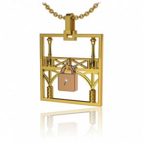 Collar Lock & Love Cuadrado Puente de los Enamorados Oro Amarillo Candado Rosa