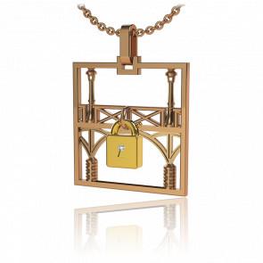 Collar Lock & Love Cuadrado Puente de los Enamorados Oro Rosa Candado Amarillo