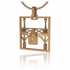 Collar Lock & Love Cuadrado Puente de los Enamorados Oro Rosa Candado Rosa
