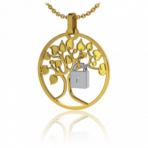 Collar Lock & Love Árbol de los Enamorados Oro Amarillo Candado Blanco