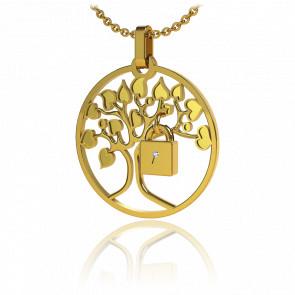 Collar Lock & Love Árbol de los Enamorados Oro Amarillo Candado Amarillo