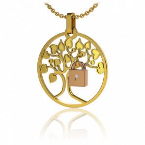 Collar Lock & Love Árbol de los Enamorados Oro Amarillo Candado Rosa