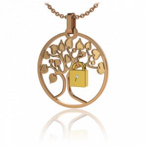 Collar Lock & Love Árbol de los Enamorados Oro Rosa Candado Amarillo