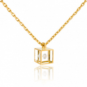 Collar Micro cubo Oro amarillo y Diamante 0,03ct