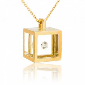 Collar Maxi Cubo Oro Amarillo