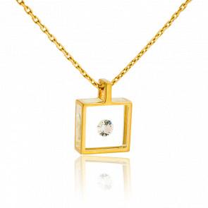 Collar Micro cuadrado Oro amarillo y Diamante 0,10ct
