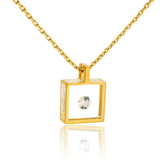 9ff362a3a82f Collar Micro cuadrado Oro amarillo y Diamante 0
