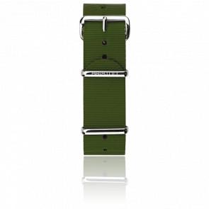 Correa Nato 20mm verde militar, Largura 280mm, hebilla acero pulido