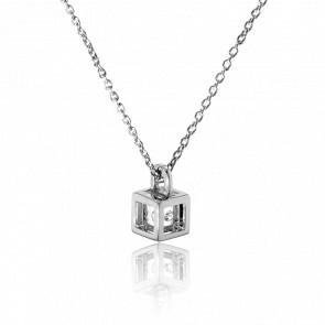 Collar Mini cubo Plata y Diamante 0,01ct