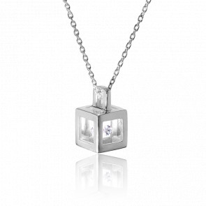 Collar Micro cubo Plata y Diamante 0,03ct