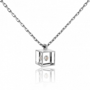 Collar Mini Cubo Oro Blanco y Diamante 0.03 ct