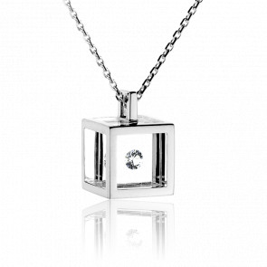 Collar Cubo Plata y Diamante Negro 0.10 ct