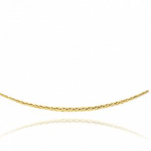 Collar Cascada Cadena Espiga Hueca 45cm Oro Amarillo 18k