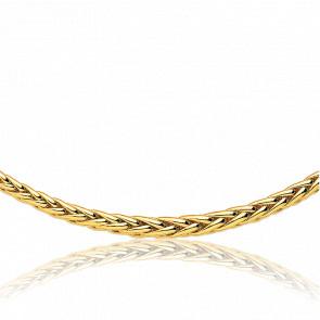 Collar Cascada Cadena Espiga Hueca 40cm Oro Amarillo 18k