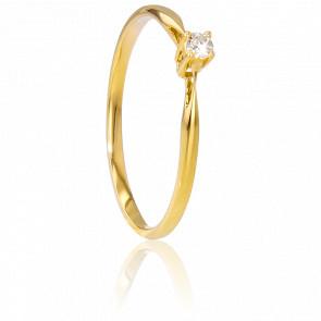 Alianza compromiso Oro Amarillo y Diamante peso 0,04ct.