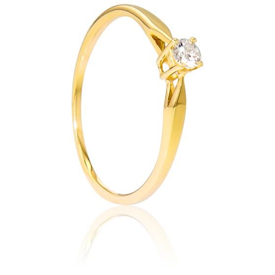 Alianza compromiso Oro Amarillo y Diamante peso 0,10ct.