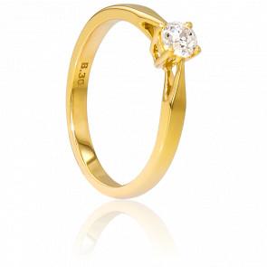 Alianza compromiso Oro Amarillo y Diamante peso 0,30ct.
