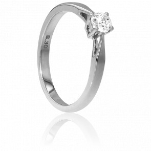 Solitario Oro Blanco diamante peso 0,30ct