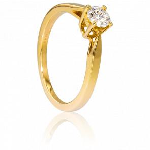 Alianza compromiso Oro Amarillo y Diamante peso 0,40ct.