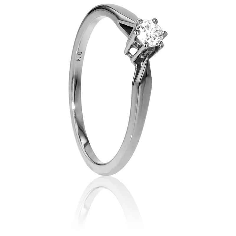 Anillo De Compromiso Oro Blanco Y Diamante 0 14 Ct Ocarat