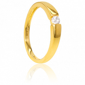 Solitario de Oro amarillo y diamante peso 0,08ct
