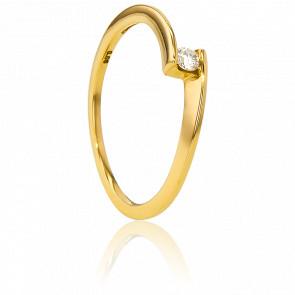 Alianza Oro Amarillo diamante con peso 0,06ct.