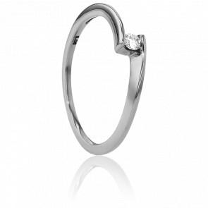 Anillo compromiso Solitario Oro Blanco diamante con peso 0,06ct