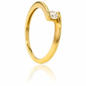 Anillo compromiso Solitario Oro Amarillo diamante con peso 0,14ct
