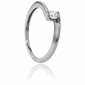 Anillo compromiso Solitario Oro Blanco diamante con peso 0,14ct