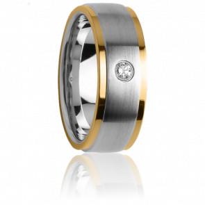 Alianza Idothée Acero y oro amarillo y diamante