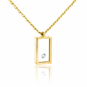 Collar Rectángulo Oro Amarillo y Diamante 0.03 ct
