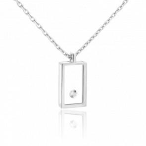 Collar Mini Rectángulo Oro Blanco y Diamante 0.03 ct