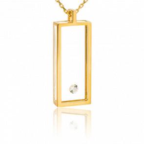 Collar Rectángulo Oro Amarillo y Diamante 0.08 ct