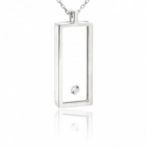 Collar rectángulo Oro blanco y Diamantes.