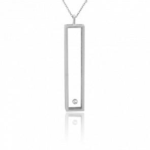 Collar rectángulo L Plata y Diamante 0,10ct