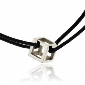 Pulsera Mini Cubo Oro Blanco y Cordón Negro