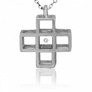 Collar Cruz 5 Cubos Plata y Diamante 0,01 Quilates