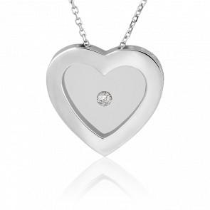 Collar Corazón Plata y Diamante 0.05 Quilates